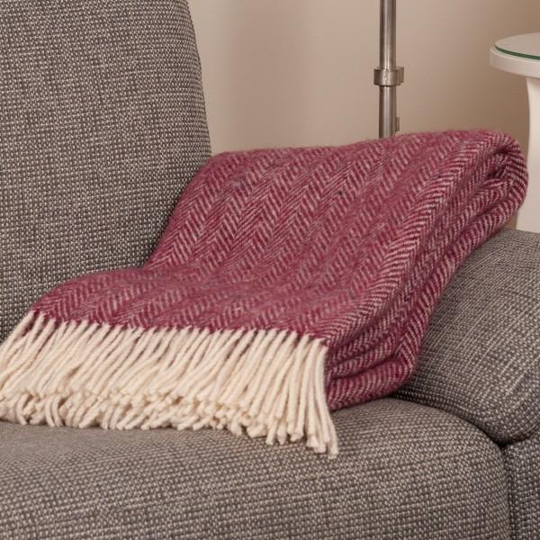 purpurfarbene Wolldecke, handgewebt