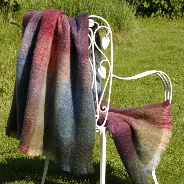 Mohair-Knieplaid, warme Farben