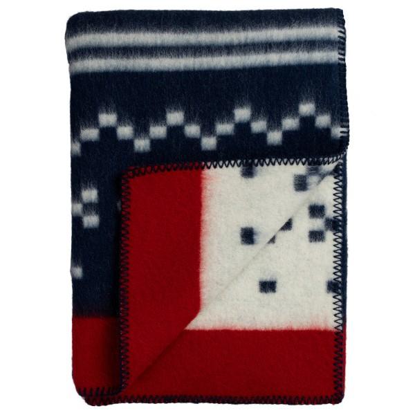 Blau-rote Wolldecke mit norwegischen Mustern